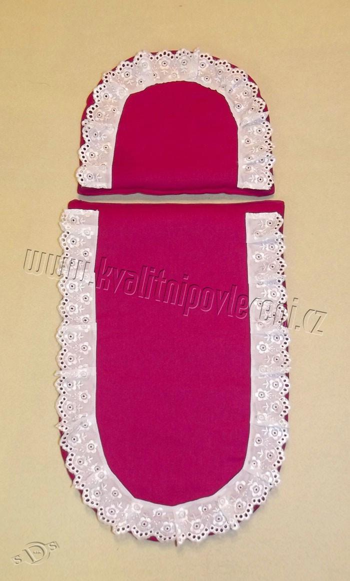 Peřinky do kočárku pro panenky Sytě růžová s krajkou 27x40 cm, 25x20 cm