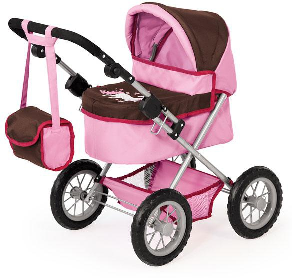 Kočárek pro panenky Bayer Trendy růžovo-hnědý