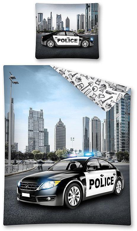 Povlečení Policejní auto 140x200, 70x80 cm