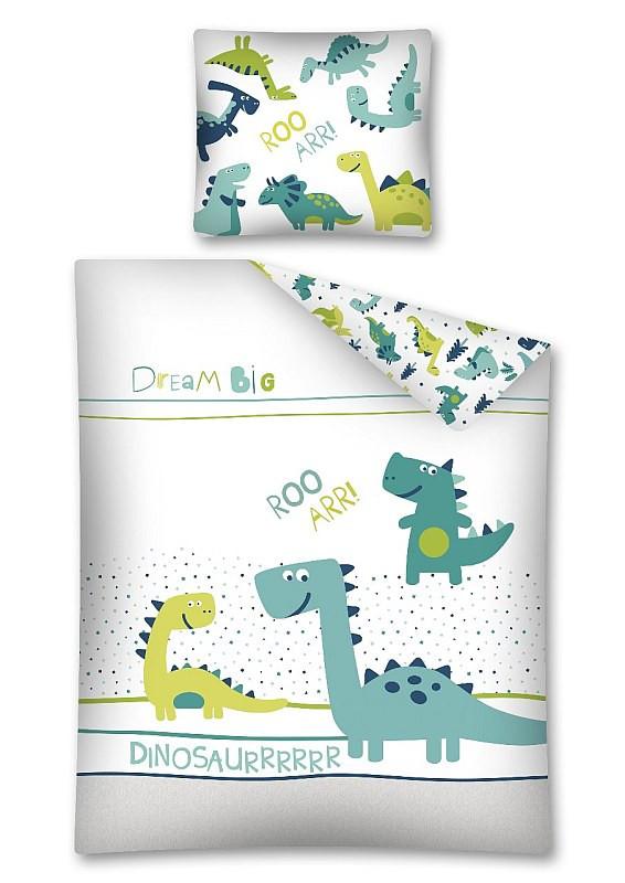 Povlečení Dino svítící Bavlna 140x200, 70x80 cm