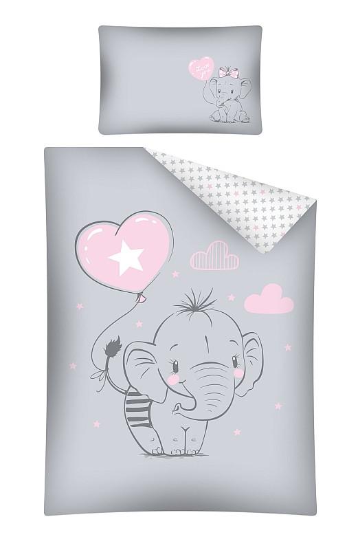 Povlečení do postýlky Slon růžový  Bavlna, 100x135, 40x60 cm