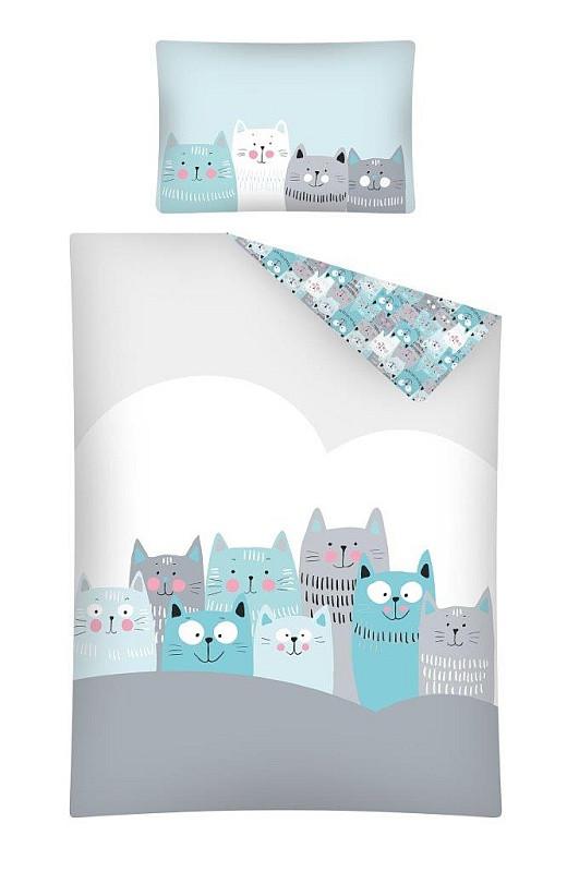 Povlečení do postýlky Kočičky šedá Bavlna 100x135, 40x60 cm