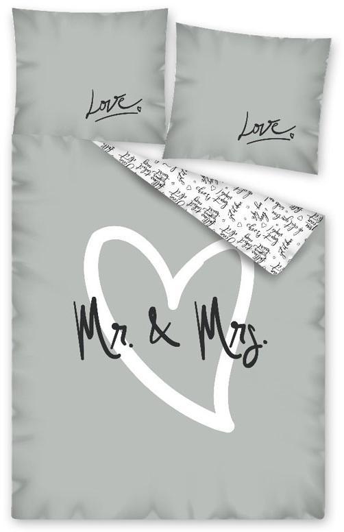 Povlečení Mr. and Mrs. 140x200, 70x80 cm