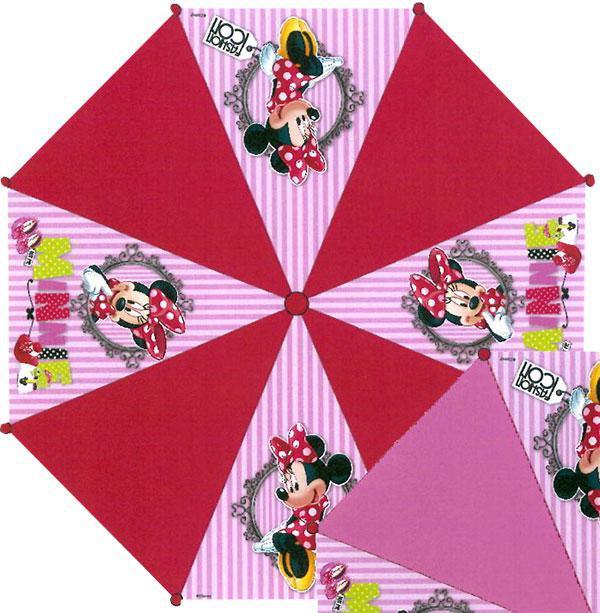 Vystřelovací deštník Minnie proužky červená