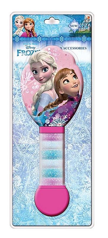 Kartáč na vlasy a gumičky Ledové Království , 21x8 cm