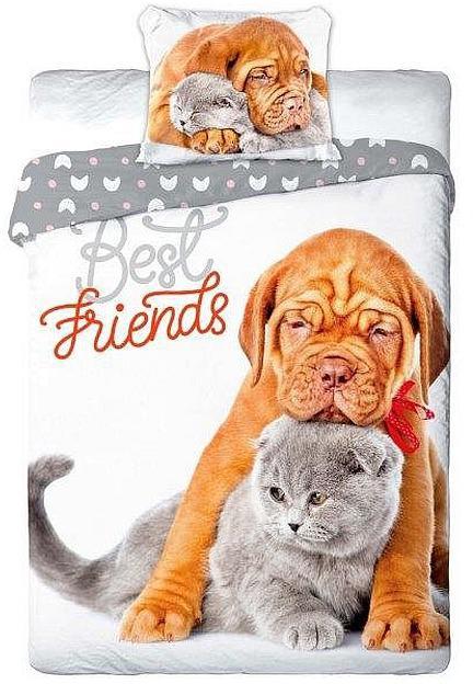 Povlečení Nejlepší přátelé šedé 140x200, 70x90 cm