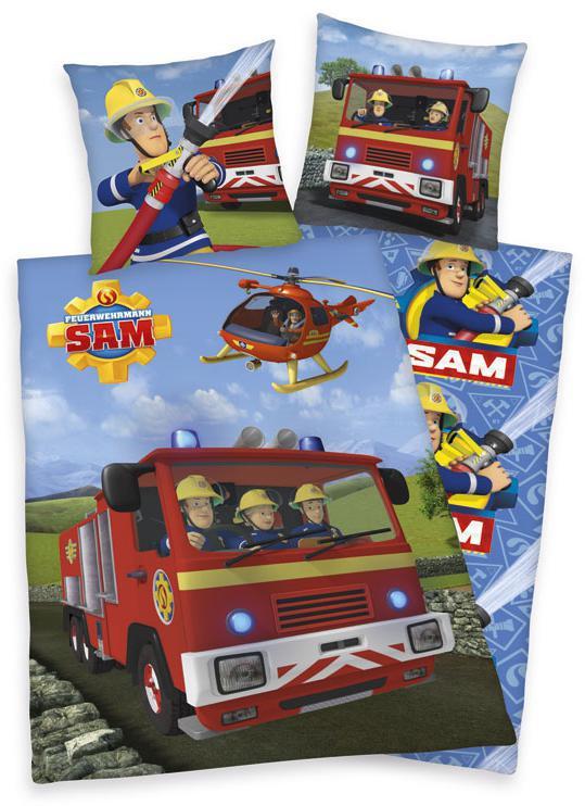 Povlečení Požárník Sam auto 140x200, 70x90 cm
