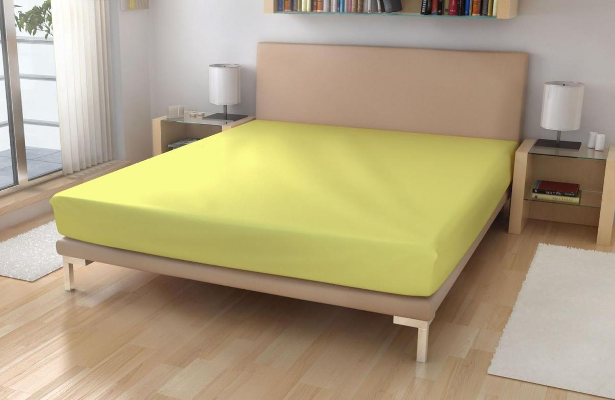 Jersey prostěradlo EXKLUSIVE Světle žlutá 90x200 cm
