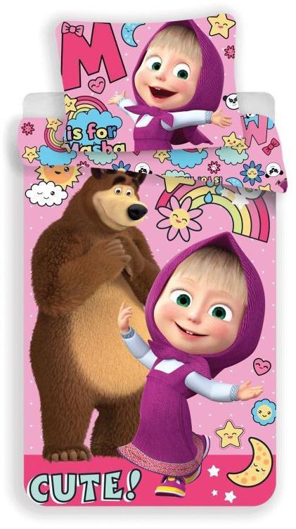 Povlečení Máša a Medvěd Rainbow 140x200, 70x90 cm