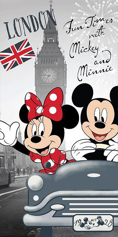 Osuška Mickey a Minnie v Londýně 70x140 cm