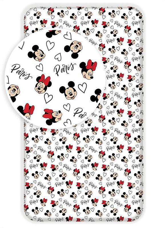 Prostěradlo Mickey a Minnie Paříž Eiffelova věž 90x200 cm