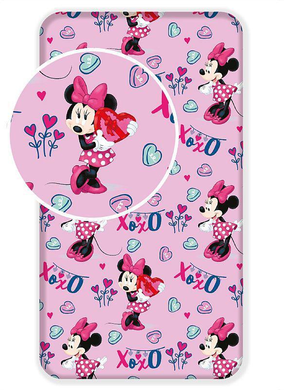 Prostěradlo Minnie pink 02 90x200 cm